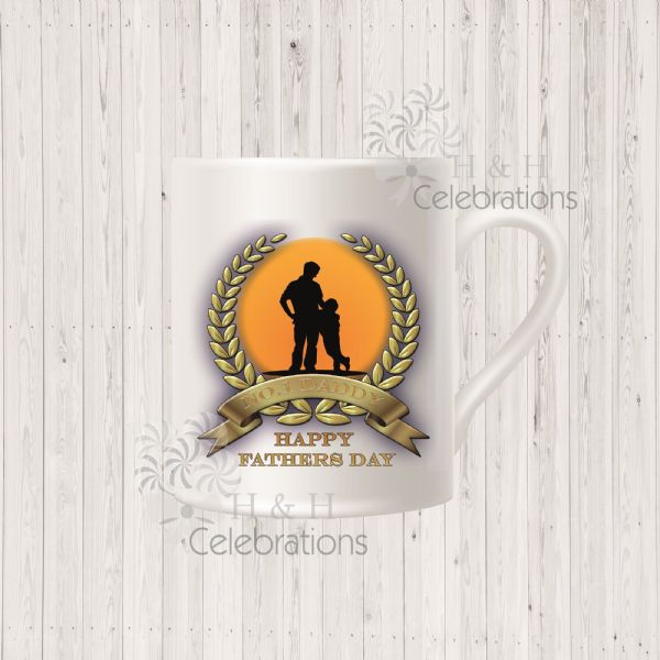 No 1 Daddy And Son Laurel Silhouette Personalised Mug